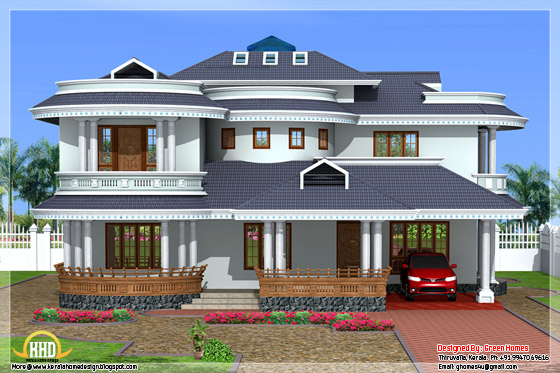 Beautiful 4 bedroom kerala home exterior kerala home design and floor plans - Exterior paint calculator square feet model ...