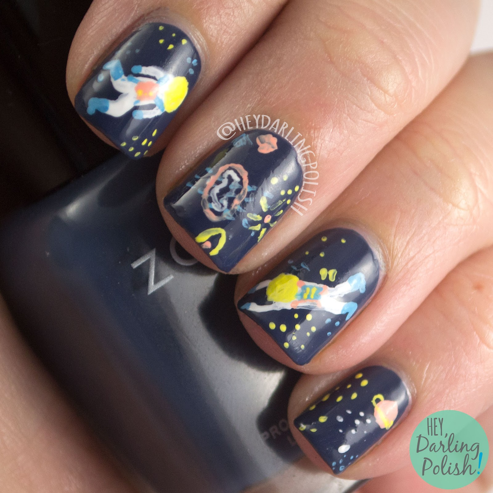 nails, nail art, nail polish, acrylic paint, pattern, freehand, astronauts, space, space nail art, hey darling polish, the nail art guild