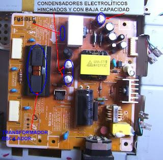 fuente de monitor lcd samsung Syncmaster 940nw  donde se aprecian condensadores electrolíticos hinchados,
