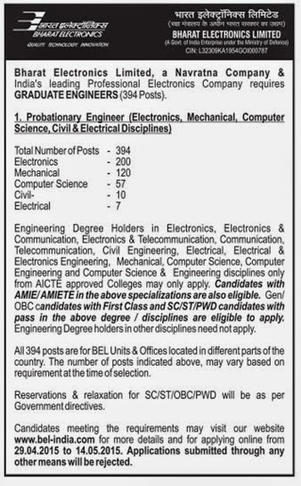 Bel Recruitment For Probationary Engineer Across India