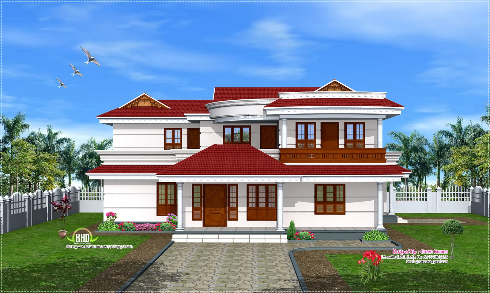 Double floor home design in 269 sq m kerala home design for Home design double floor