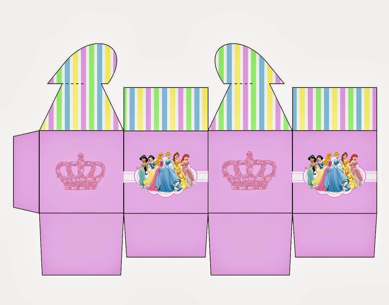 Princesas Disney: Caja con Cierre en Forma de Corazón para Imprimir Gratis.