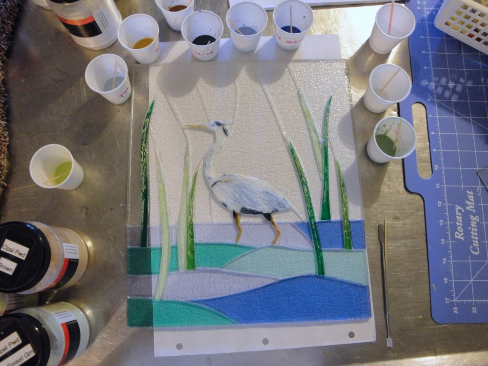 Fused Glass Bullseye Powder Painting Great Blue Heron Egret Marsh Tidal Swamp Recycled Upcycled Frame