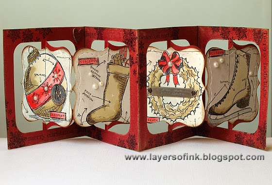 Christmas Blueprint Accordion - Layers of ink