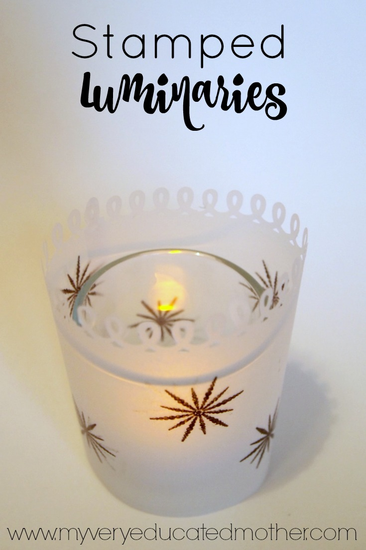 Give plain candle holders a quick update with a piece of paper and PSA Essentials Stamps.