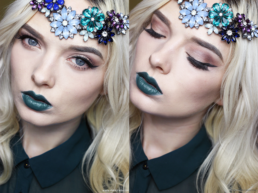 Green Lipstick, Make Up revolution Serpent Lipstick, Alternative, Christmas FOTD, editorial, pale skin, blonde hair, my pale skin, em ford, blogger,