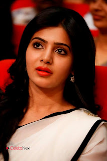 Samantha Pictures in White Saree at SVSC Triple Platinum Disk Function  0002