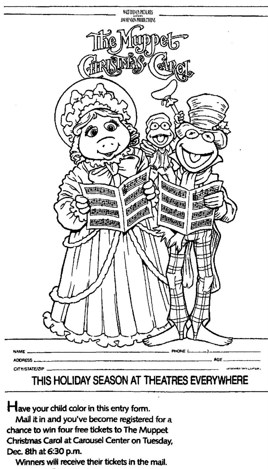 THE MUPPET CHRISTMAS CAROL Movie Coloring Contest