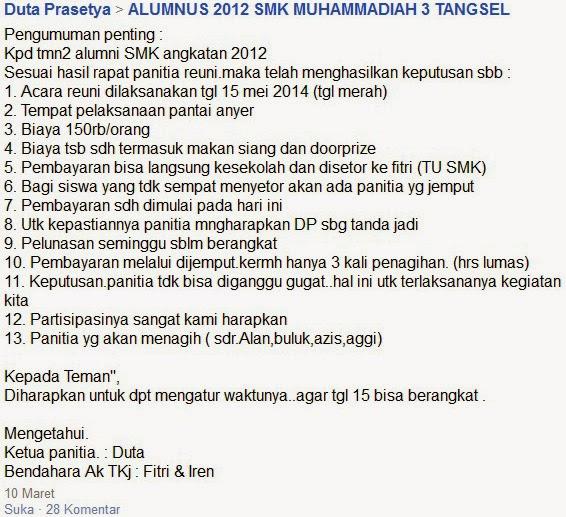 facebook alumnus SMK MUHAMMADIYAH 3 TANGSEL tour reuni