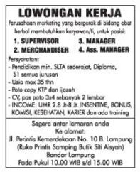 Lowongan Kerja MANAGER, SUPERVISOR di Lampung