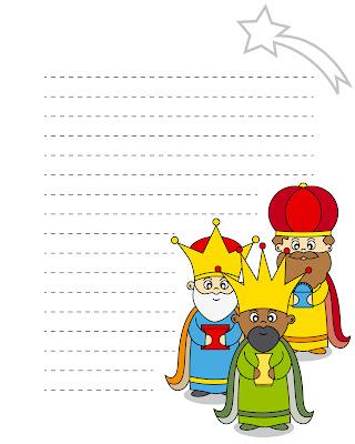 carta para los reyes magos en ilustración para imprimir con melchor gaspar y baltazar