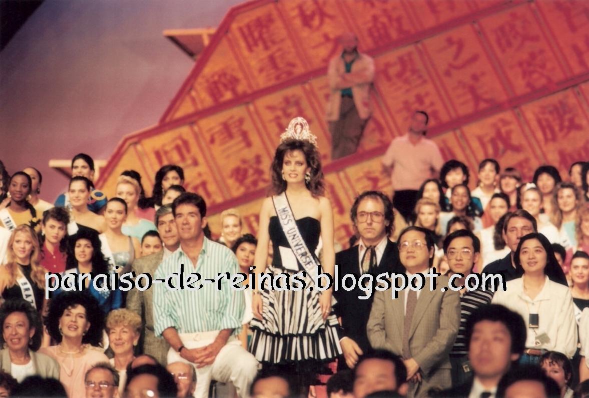 Cecilia Bolocco (Miss Universo 1987), junto al presentador Alan Thicke