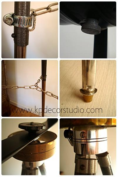 Lámpara artesanal con trípode