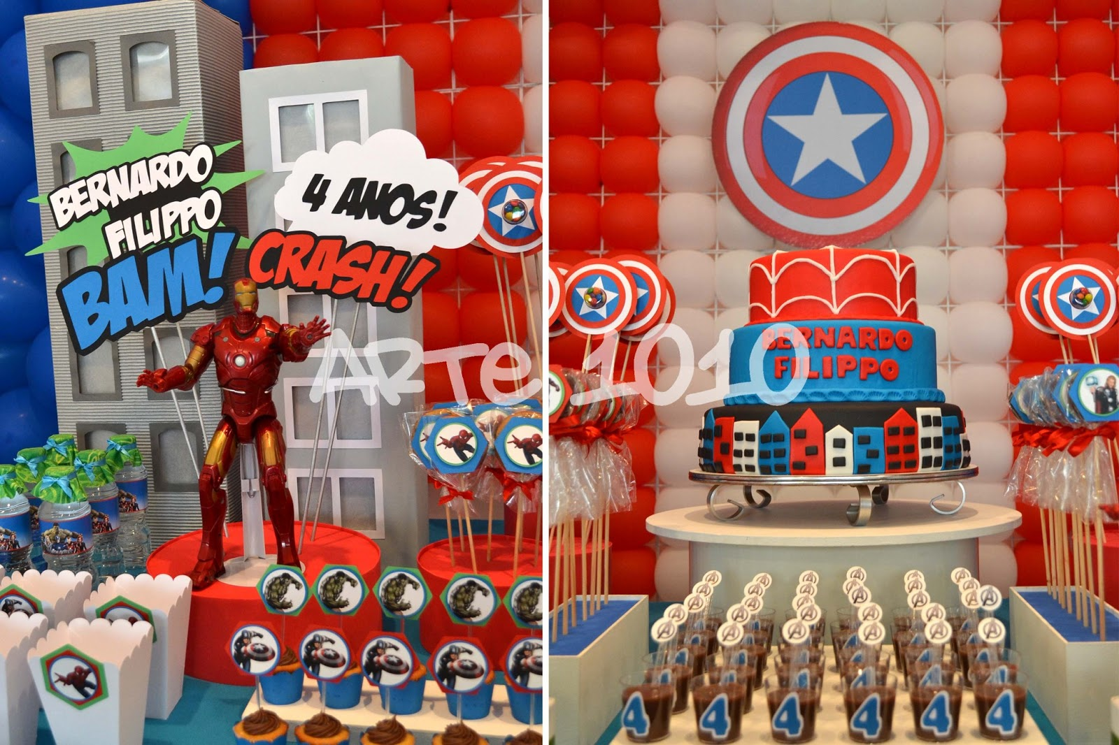 Arte 1010 Festa Vingadores com Homem Aranha