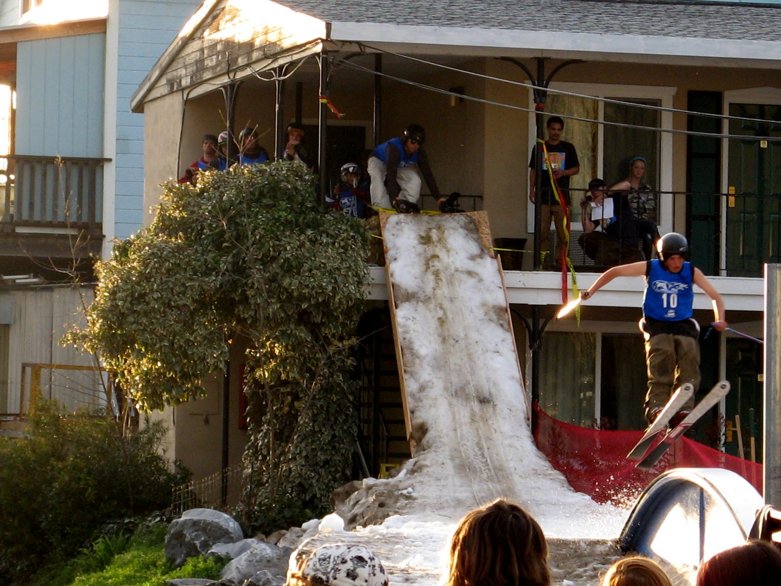 Snow was brought in and piled from the second floor of the Murphys Hotel  into an obstacle course for skiers and snowboarders. The amateur  contestants were ...