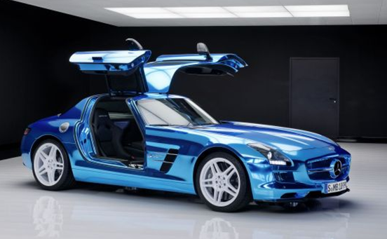 photos of blue chrome mercedes benz electric drive sls amg car interior