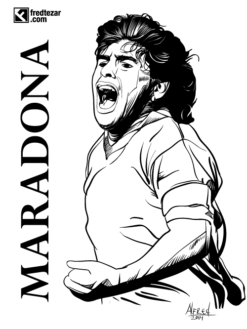 Maradona, football player, argentina, legend, vector potrait