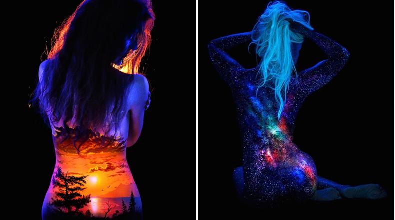 Espectacular paisajes corporales fluorescente iluminado con una luz negra
