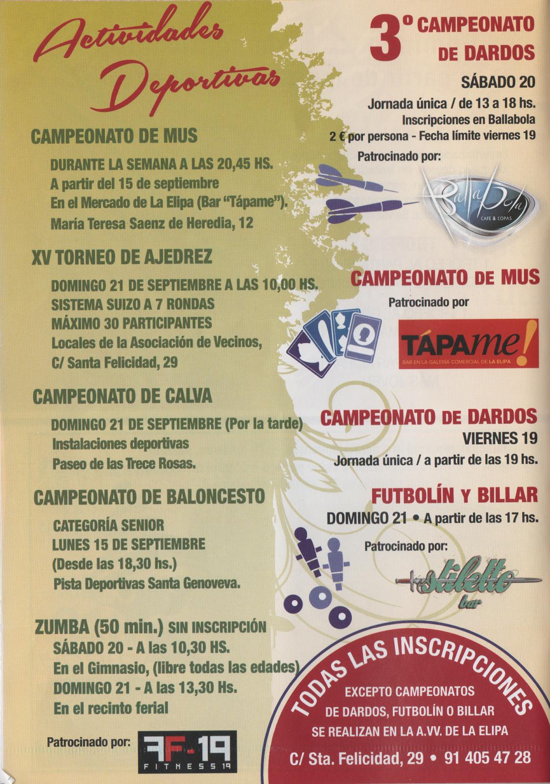 Fiesta de la Elipa 2014 - ACTIVIDADES.