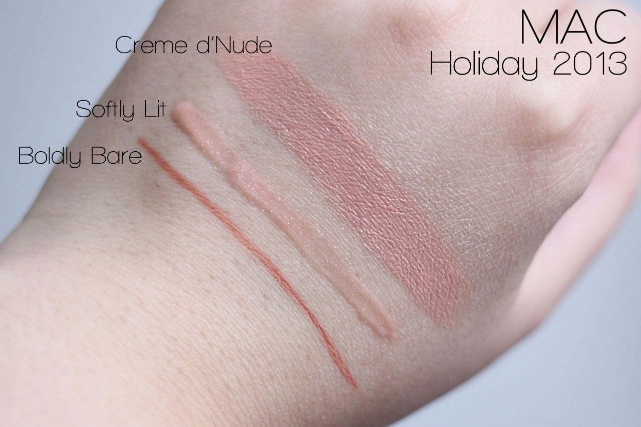 MAC Stroke of Midnight Lipbag Nude Swatches : Lipstick in Creme D'Nude, Lip pencil in Boldly Bare, Lipglass in Softly Lit