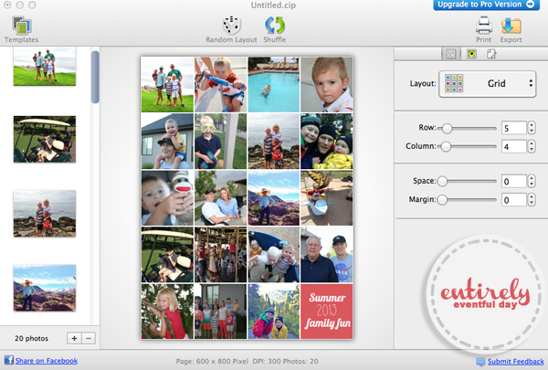Display photos on your fridge without the clutter! Family memory collage tutorial, including a cute graphic. www.entirelyeventfulday.com #collage #family