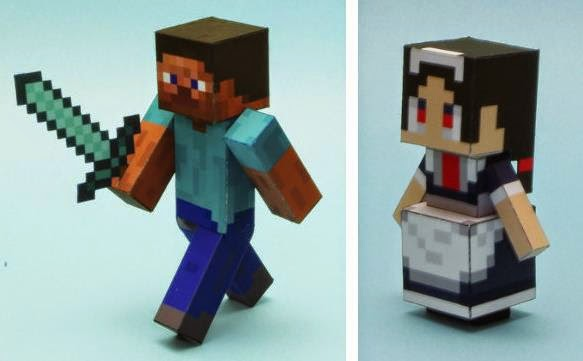 Papermau minecraft steve and little maid mob paper toys by lazy minecraft steve and little maid mob paper toys by lazy life maxwellsz