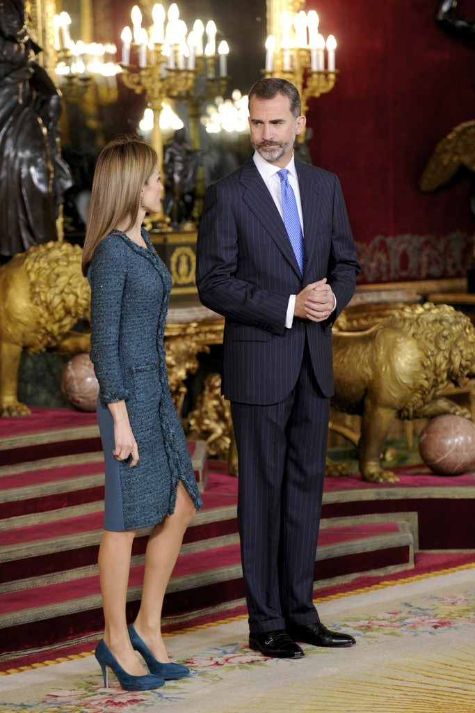 Queen Letizia of Spain and King Felipe VI of Spain attend Spain's National Day Royal Reception at Royal Palace