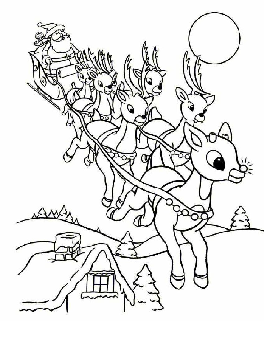 Coloring Pages Santa Claus Reindeer