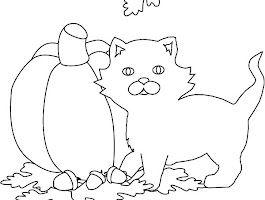 Black Cat Halloween Pumpkins Coloring Page