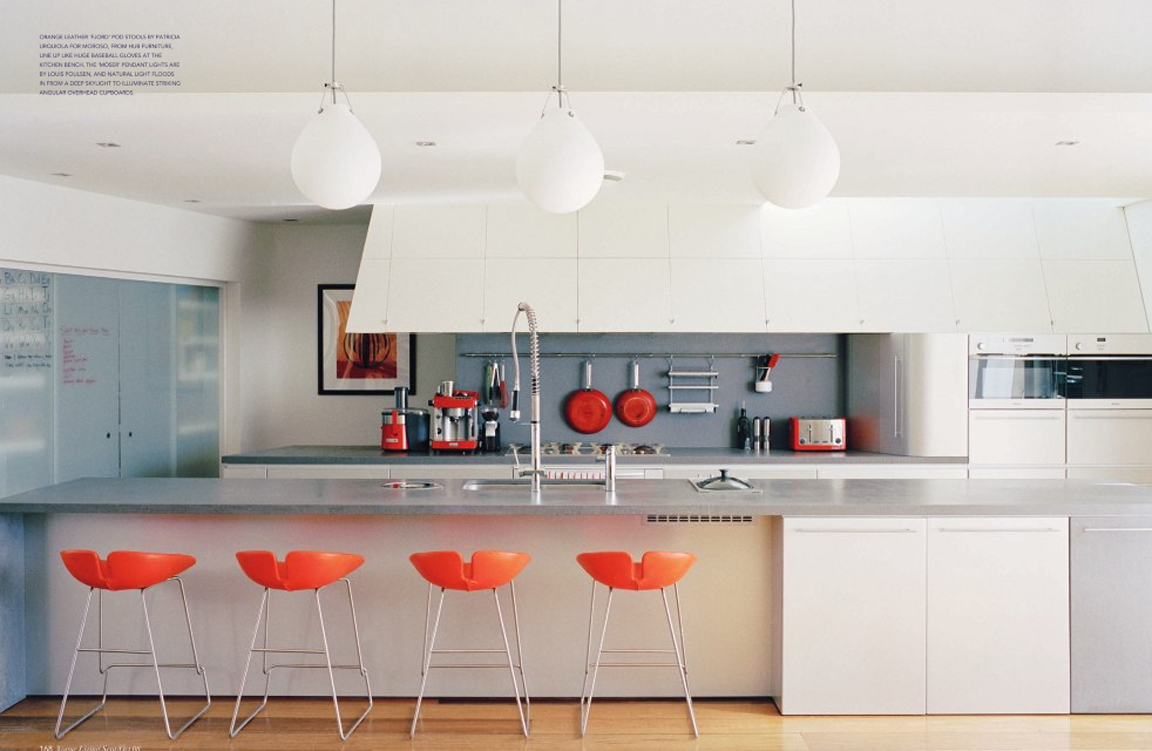 The granite gurus whiteout wednesday 5 white kitchens - Kitchen with orange accents ...