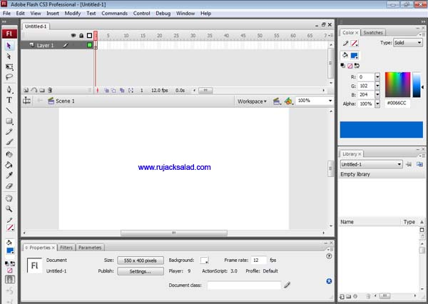 Adobe Flash CS3 Screenshot