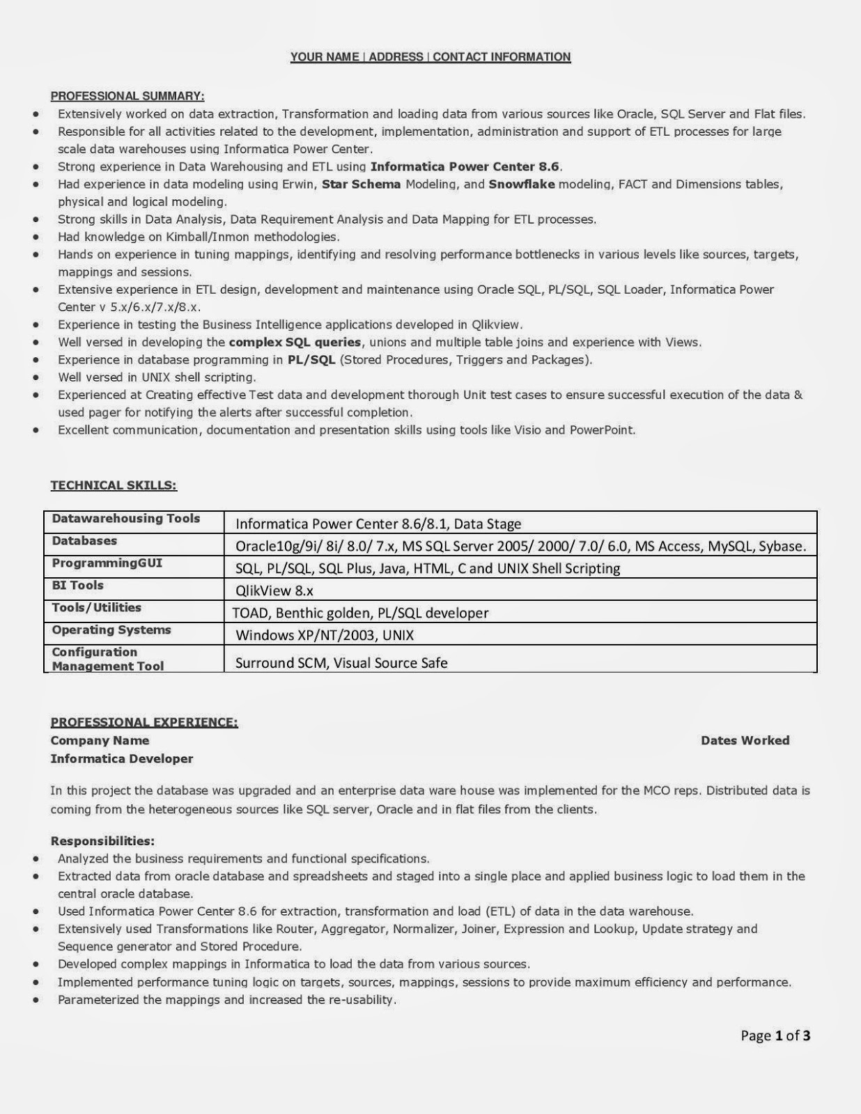 Resume Sample Resume Datastage Developer Informatica Administrator Cover  Letter Resume Salesforce Developer Sample