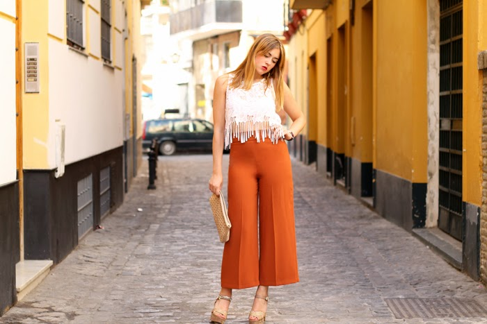 culottes and crop top
