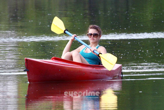 Aimee Teegarden kayaking in Ann Arbor