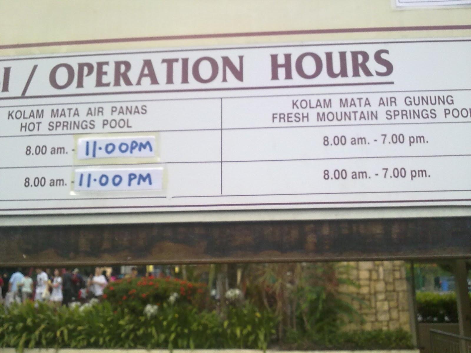 Sungai klah hot springs - Waktu Operasi Terkini Sg Klah