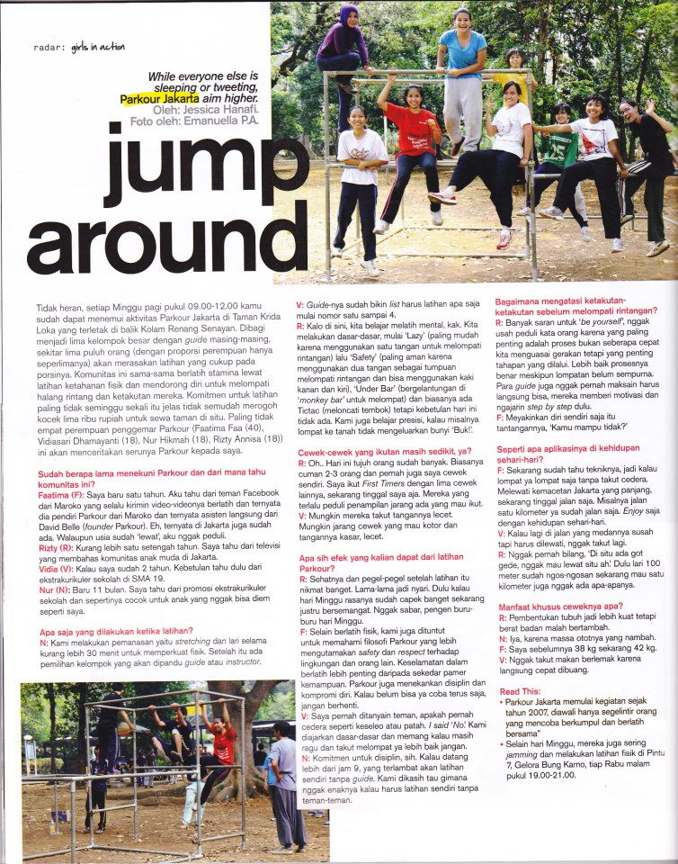 JUMP AROUND!  A coverage of Parkour Jakarta female practitioners in Nylon Indonesia.