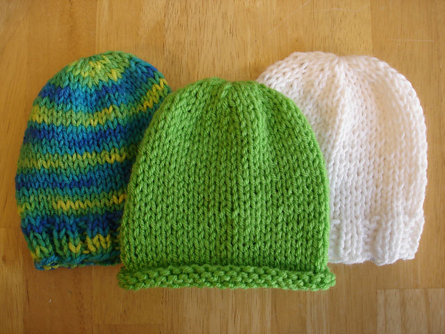 Knitting Pattern For Baby Hat With Brim : Fiber Flux: Free Knitting Pattern...Lightning Fast NICU ...