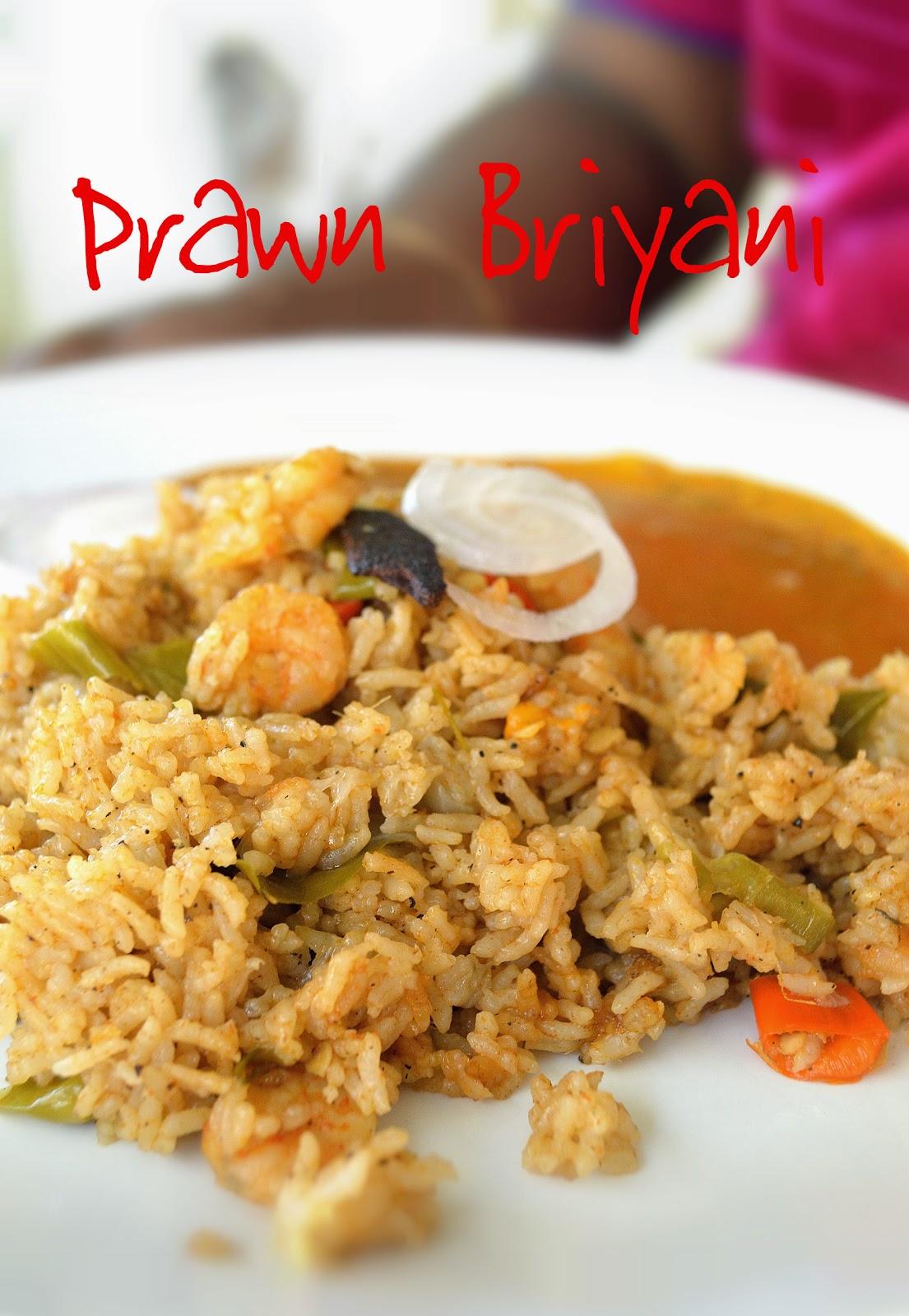 how to make prawn briyani, prawn briyani recipe, era briyani