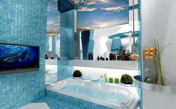 Baños Modernos Azules:Baño Moderno en Azul y Blanco