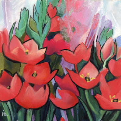 spring flowers pastel painting