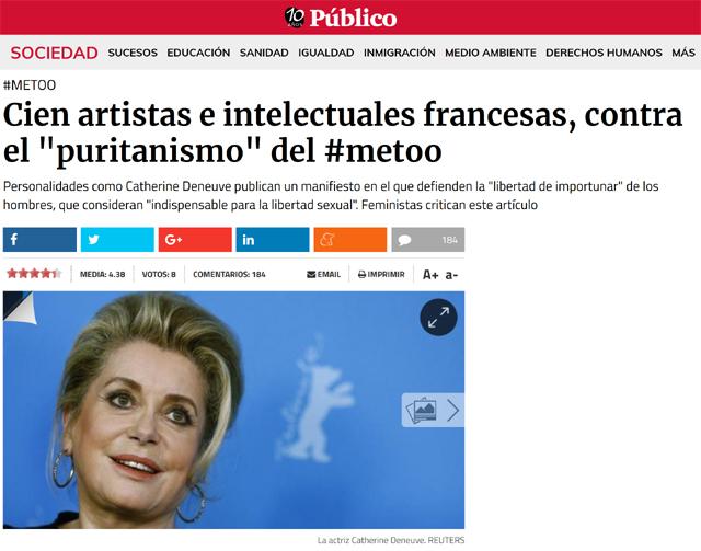 """""""Mujeres"""" MeToo vs. """"mujeres"""" MoiNonPlus = normalización del andrógino y del transexual encubierto"""