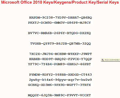 microsoft office 2010 keys serial