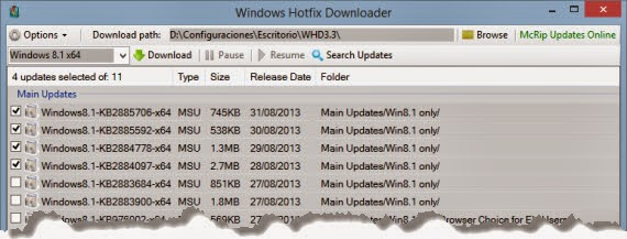 Actualiza el sistema con Windows Hotfix Downloader