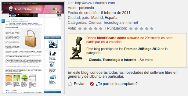 Premios 20Blogs 2012 del 20 minutos, ubuntu & Software libre, premios 20 minutos tecnologia internet