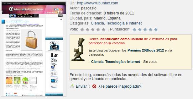 Premios 20Blogs 2012 del 20 minutos, ubuntu & Software libre, premios 20 minutos tecnologia internet