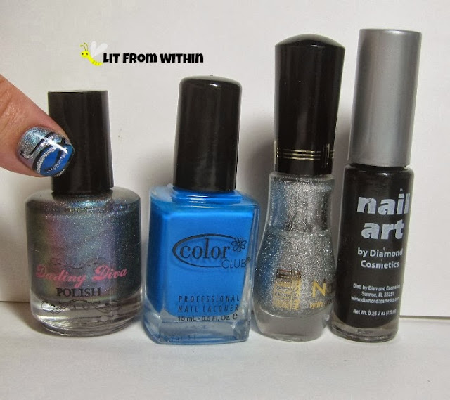 Bottle shot:  Darling Diva Polish We Will Rock You, Color Club Neon Blue, Milani nail art striper in silver glitter, and black nail art striper.