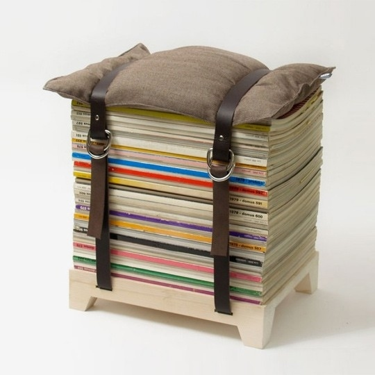Ideas and decor make a stool using old magazines two for Ideas for old magazines
