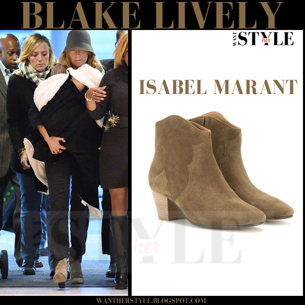 Blake Lively in brown suede Isabel Marant Dicker ankle boots what she wore streetstyle