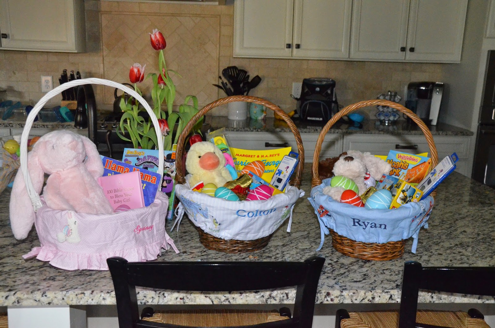 The deepe family april 2015 ryan colton and sydneys easter baskets they each got a new jelly cat stuffed animal a puppy for ryan a yellow duck quack quack for colton and pink negle Choice Image