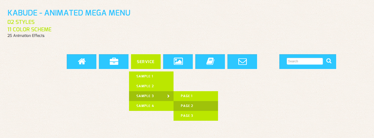 Kabude jQuery – Animated Mega Menu
